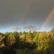 Overlook Mountain in Woodstock. And a freaking double rainbow. Come on.