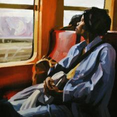 Lisbeth Fermin's painting Woman on a Train
