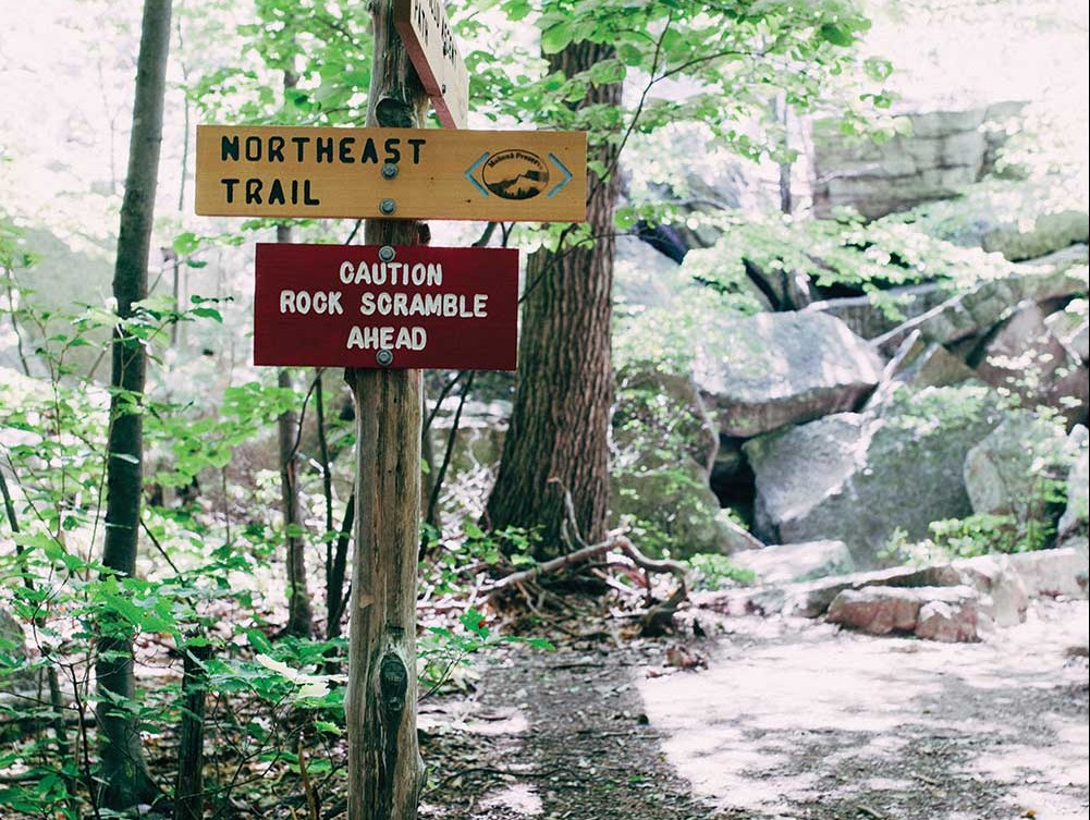 Trail-signs-at-the-Mohonk-Preserve-in-Gardiner