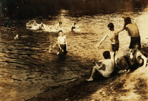 """Lewis Hine, """"The Swimming Hole,"""" 1916"""