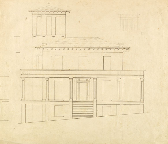 Front Elevation of Proposed Villa at Catskill - Thomas Cole, c. 1840-41