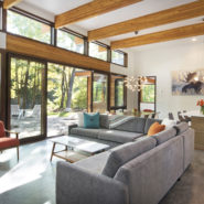 contemporary living room with windows