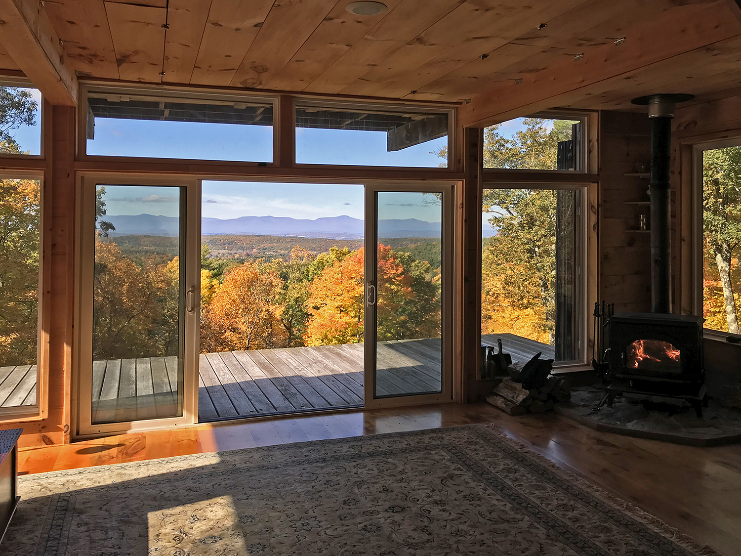 View of the Catskill Mountains from the inside of the sportsman's cabin
